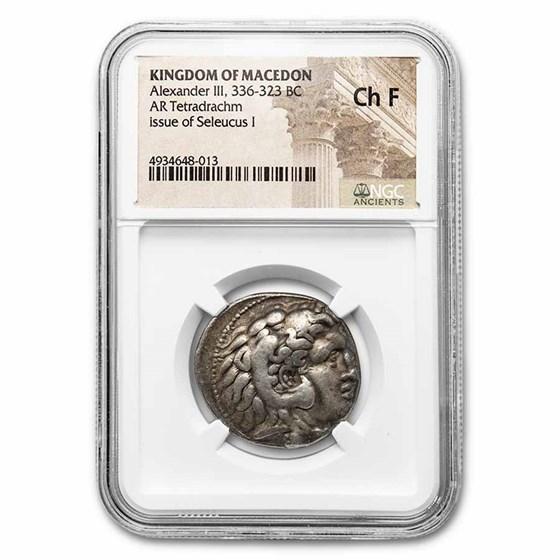 Macedon AR Tetradrachm Seleucus I (336-323 BC) Ch Fine NGC