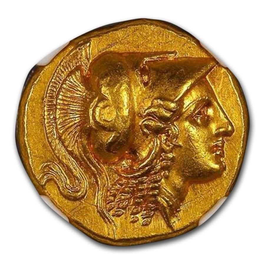 Macedonia Gold Distater Alexander III (336-323 BC) CH AU* NGC