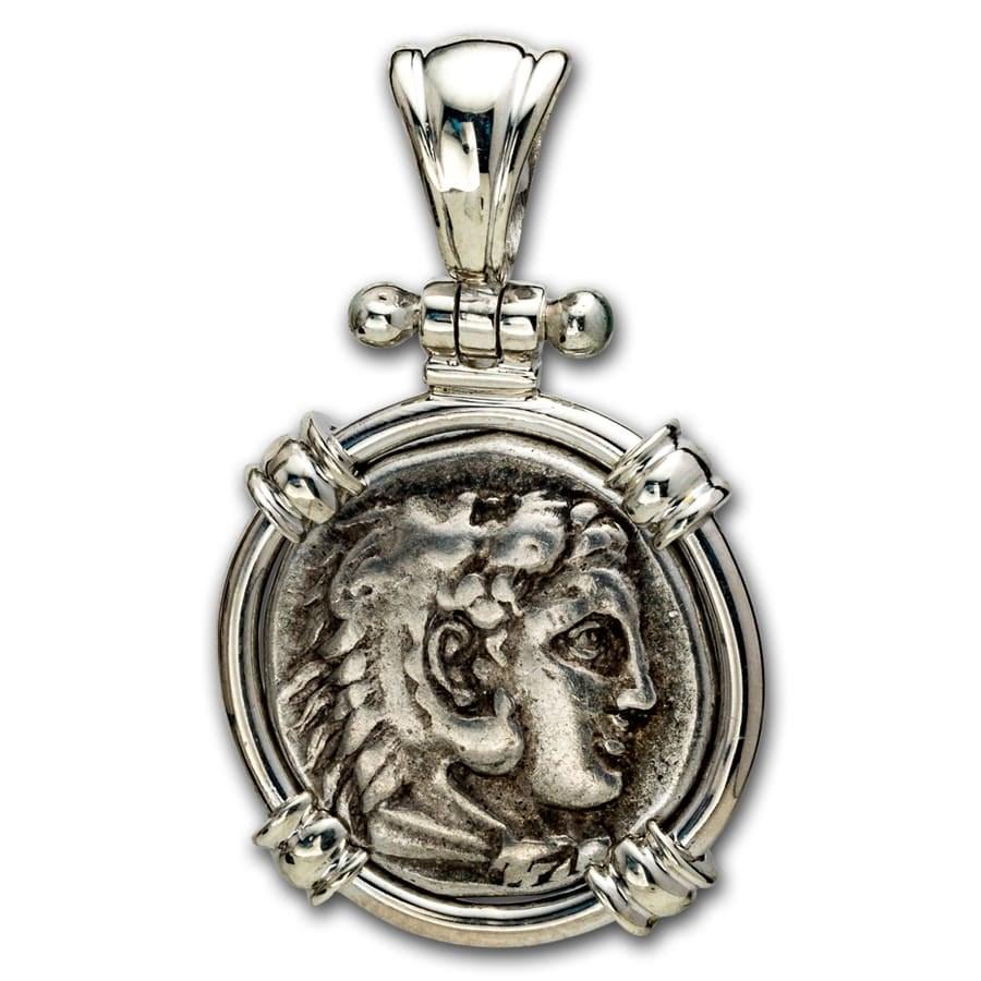 Macedonia Silver Drachm Alexander III (336-323 BC) Sterling Bezel