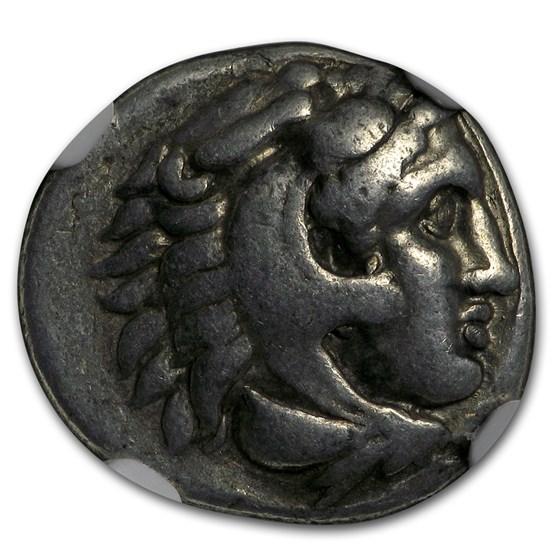 Macedonian Alexander III (336-323 BC) Silver Drachm Fine NGC