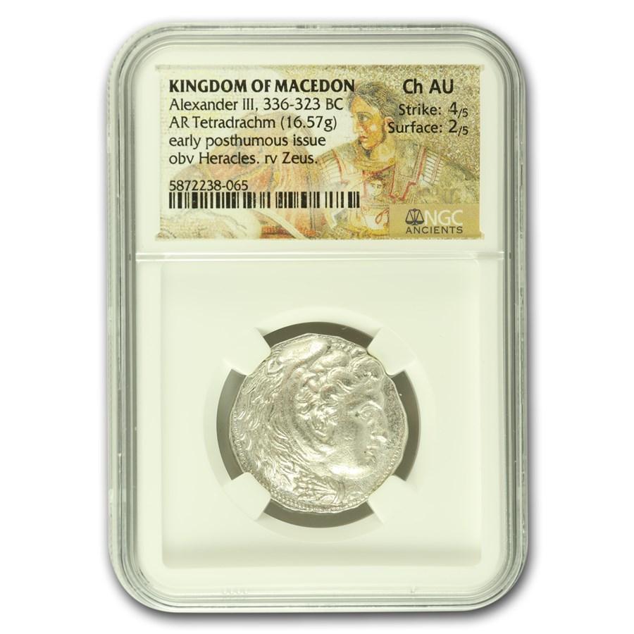 Macedonian AR Tetradrachm Alexander III (336-323 BC) CH AU NGC