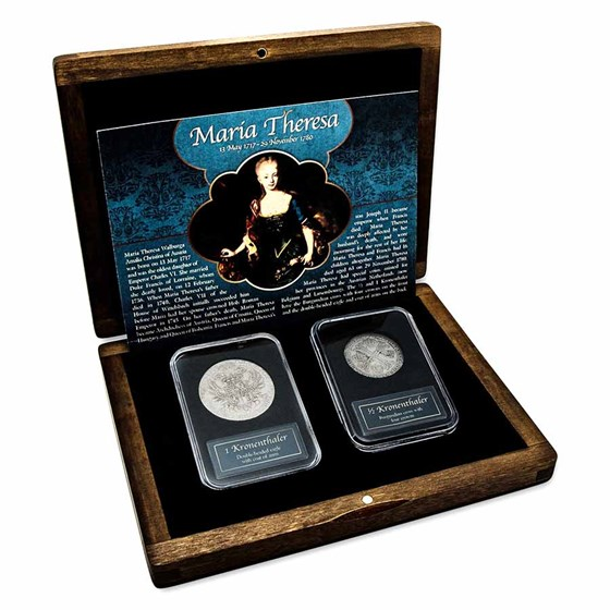 Maria Theresa Silver 1/2 & 1 Kronenthaler Presentation Set