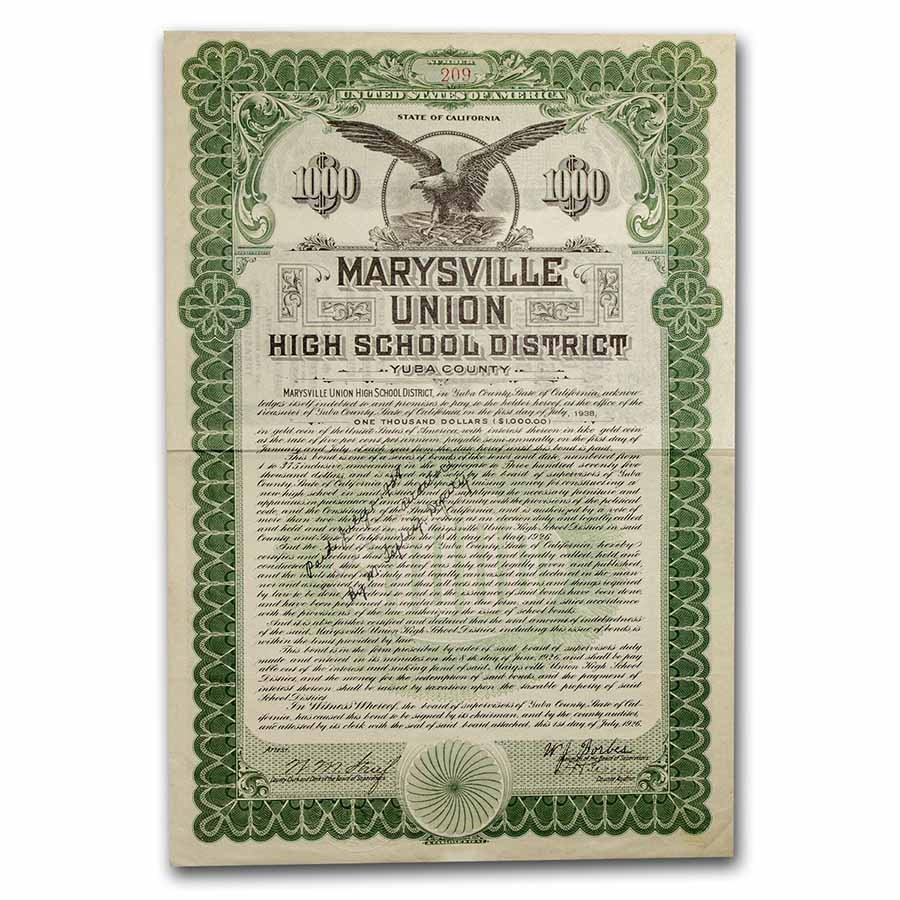 Marysville Union High School District Bond Certificate (Green)