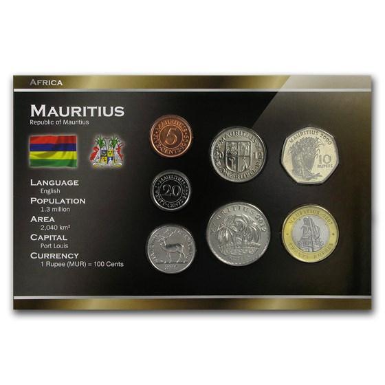 Mauritius 5 Cents - 20 Rupees 7-Coin Set BU