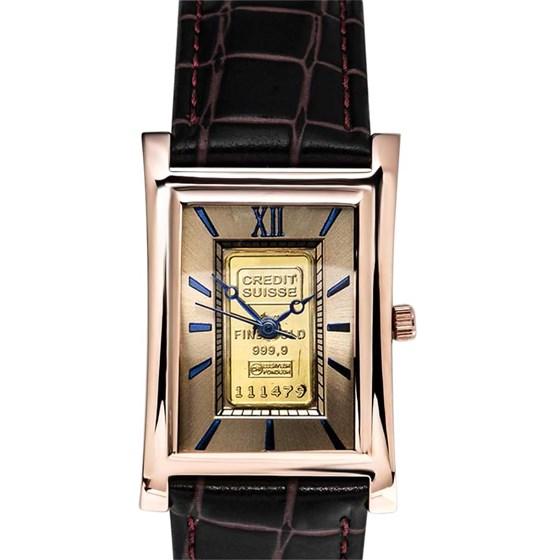 Men's 1 gram Gold Credit Suisse Grain Leather Band Watch (Brown)