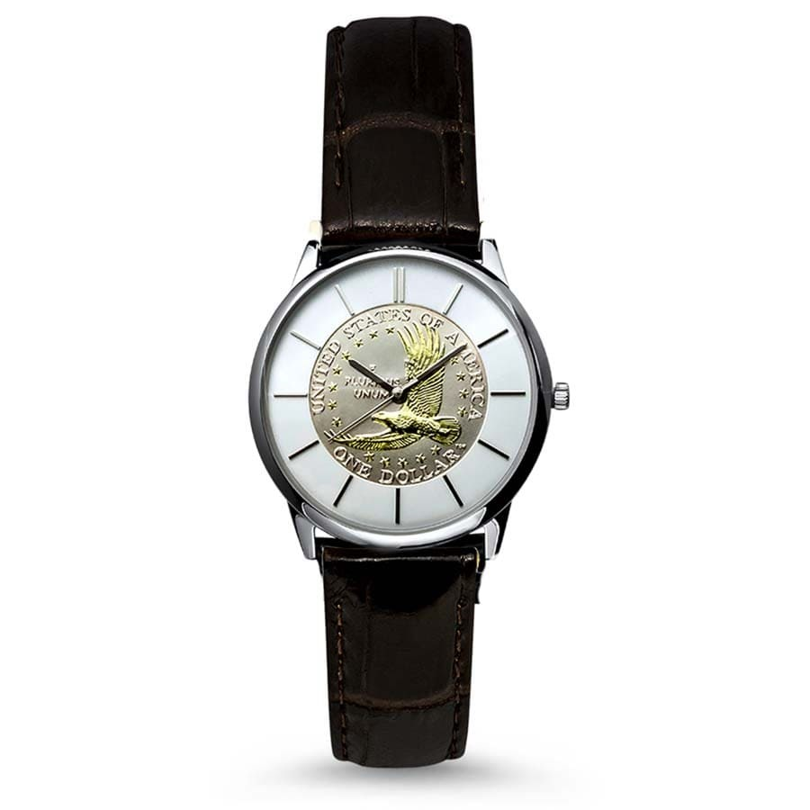Men's Gilded Sacagawea Dollar Leather Band Watch