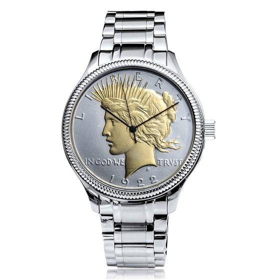 Men's Peace Dollar Watch Stainless Steel Luxury Bracelet
