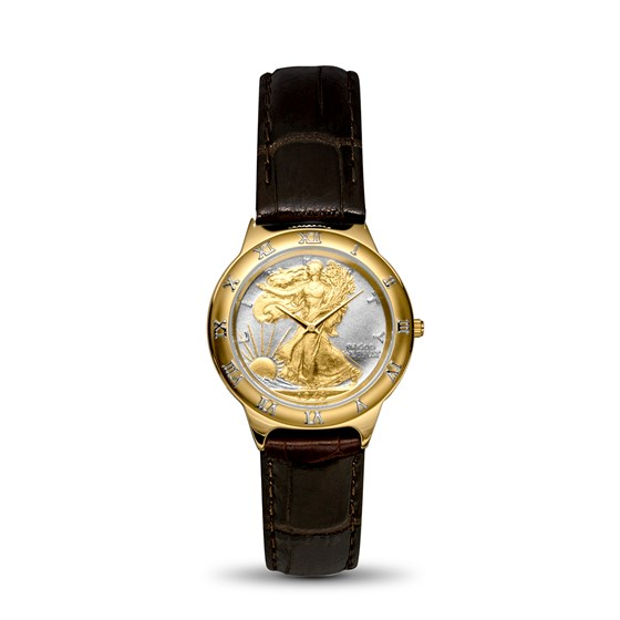 Men's Walking Liberty Half Dollar Two-Tone Leather Band Watch
