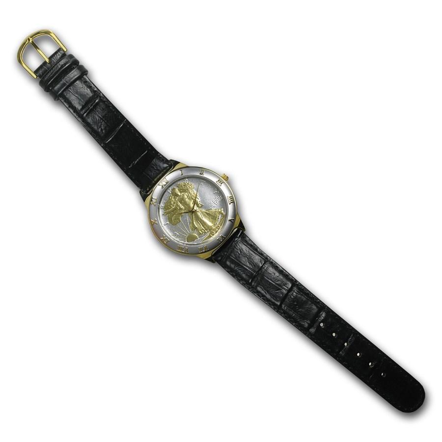Men's Walking Liberty Half Dollar Watch - Black Leather Strap