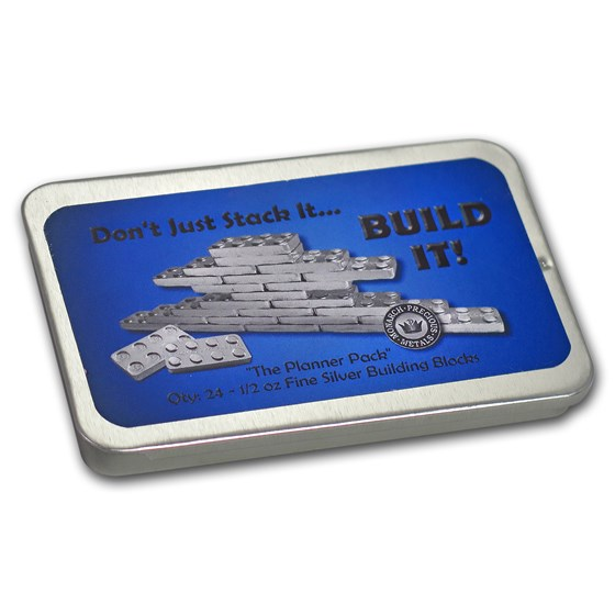 Metal Tin - 1/2 oz Silver Building Block Bars - 24-Piece Planner
