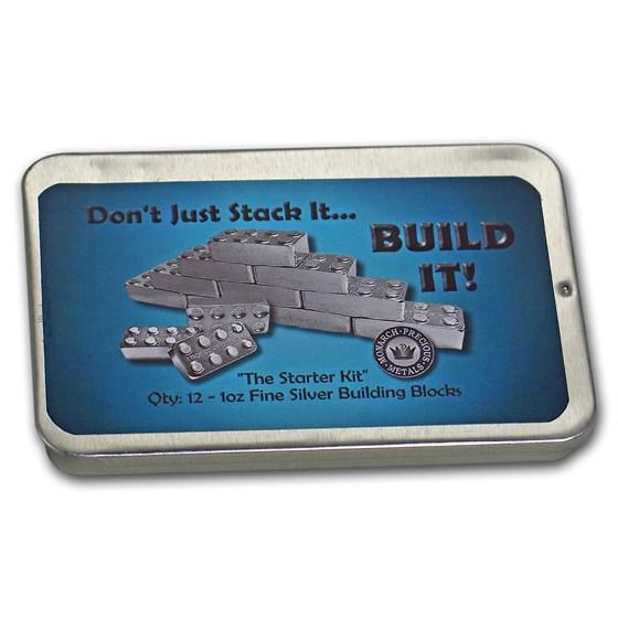 Metal Tin (Empty) - 1 oz Silver Building Block Bars - 12-Piece