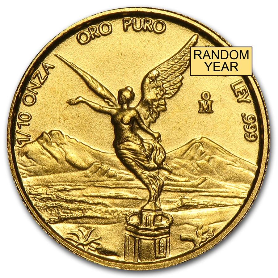 Mexico 1/10 oz Gold Onza &/or Libertad BU (Random Year)