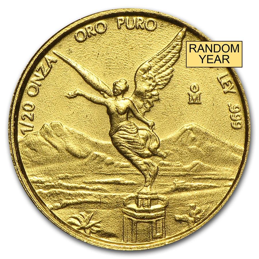Mexico 1/20 oz Gold Onza &/or Libertad BU (Random Year)