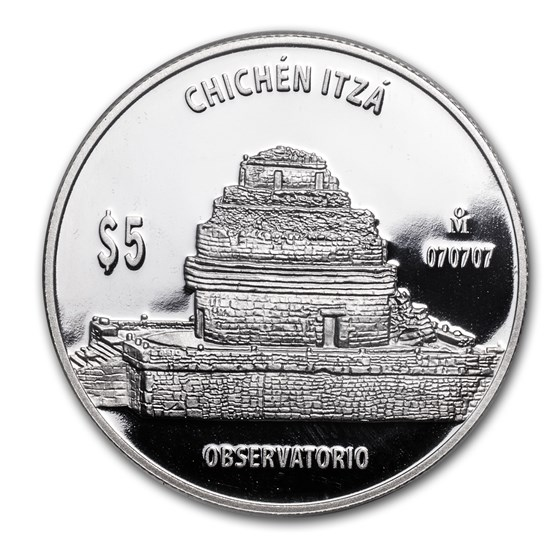 Mexico 1 oz Proof Silver 5 Pesos Observatorio (The Observatory)