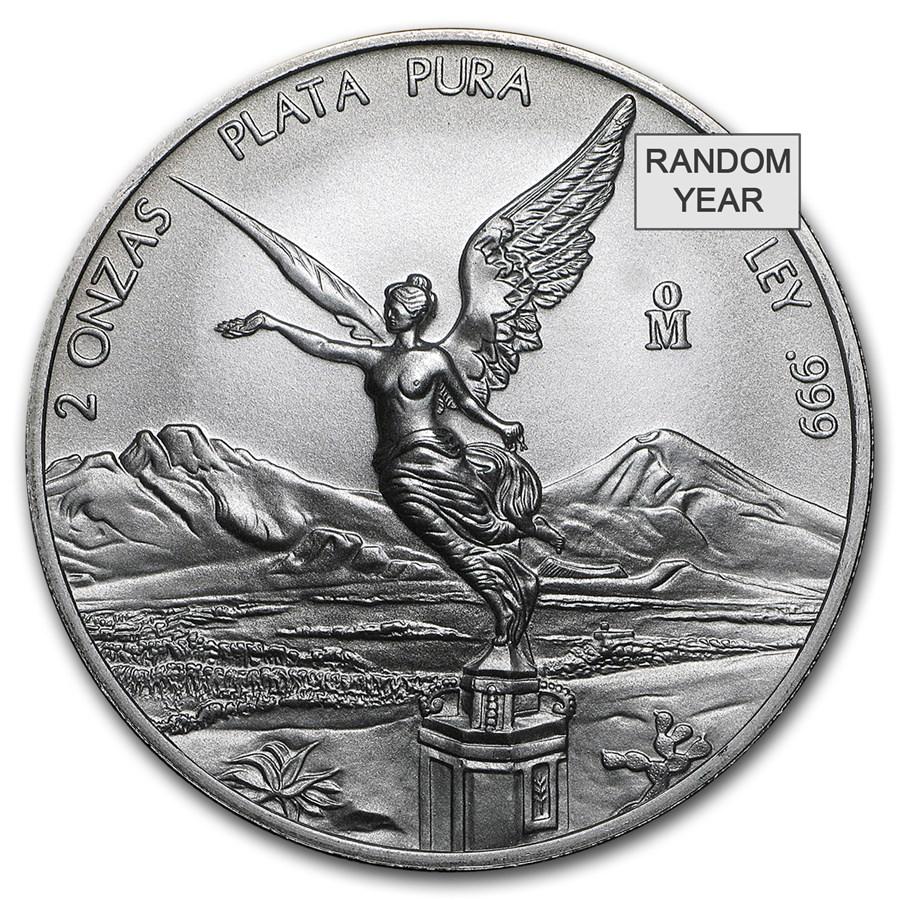Mexico 2 oz Silver Libertad BU (Random Year)
