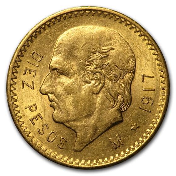 Mexico Gold 10 Pesos AU/BU (Better Dates)
