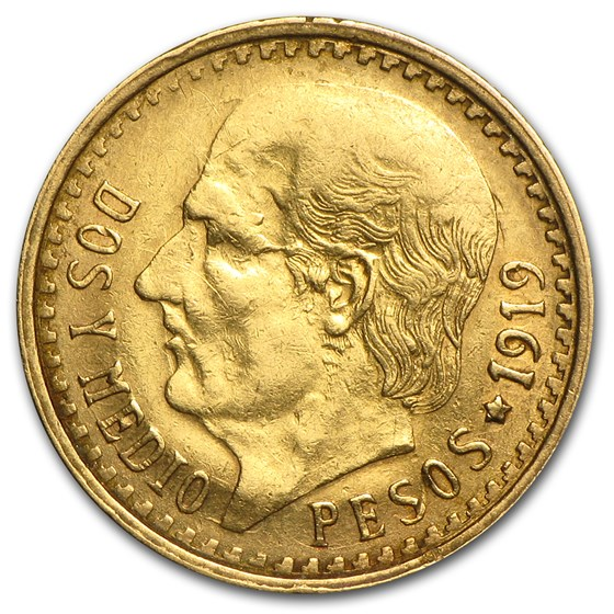 Mexico Gold 2 1/2 Pesos Hidalgo Ave Circ (Better Dates)