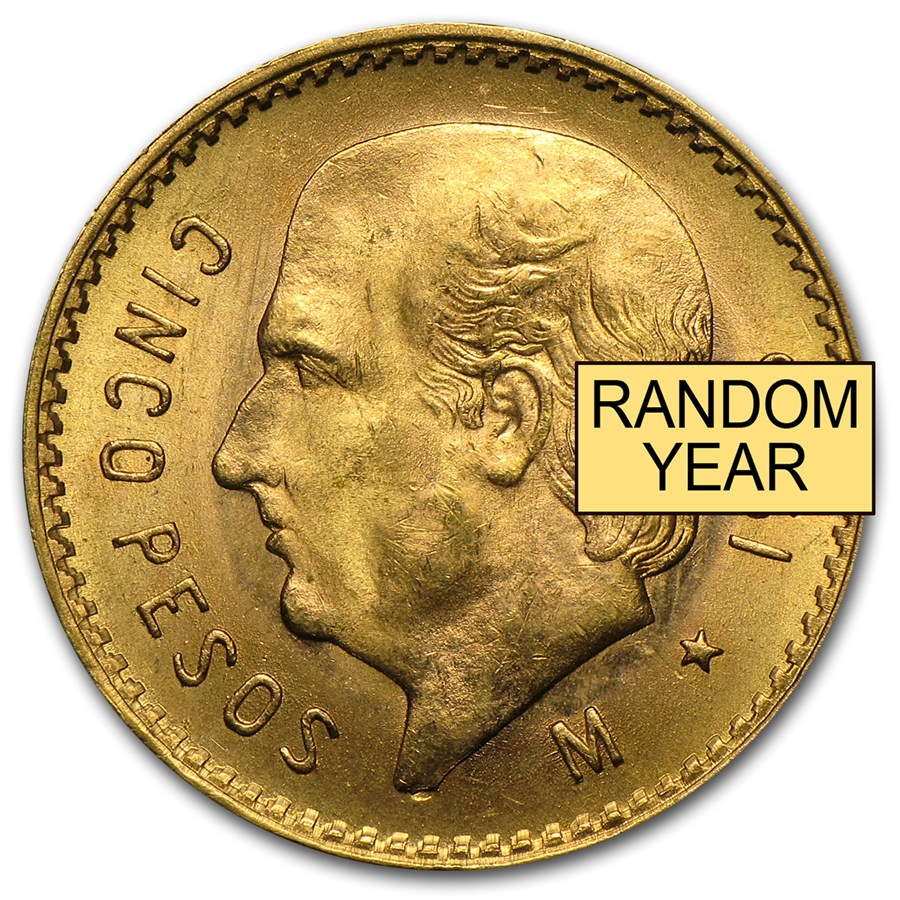 Mexico Gold 5 Pesos (Random Year) AU-BU