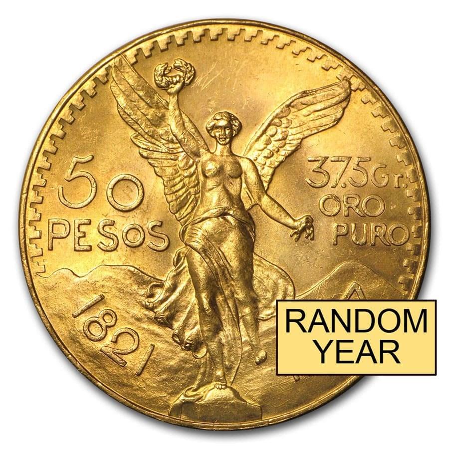 Mexico Gold 50 Pesos (Random) AU-BU
