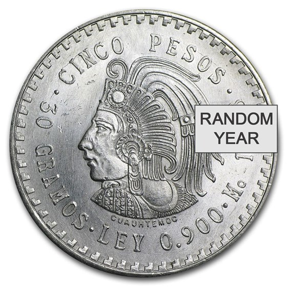 Mexico Silver 5 Pesos Cuauhtemoc (1947-1948) XF-AU
