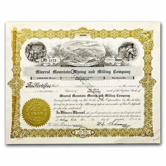 Mineral Mountain Mining and Milling Company Stock Certificate