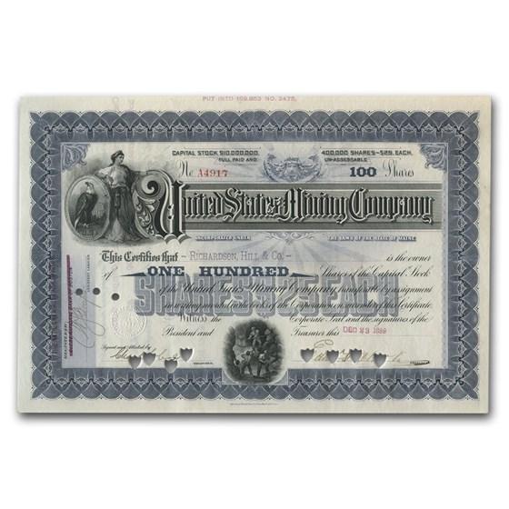Mining Companys Collection 6-Certificates + 2 Mining Prints Stock