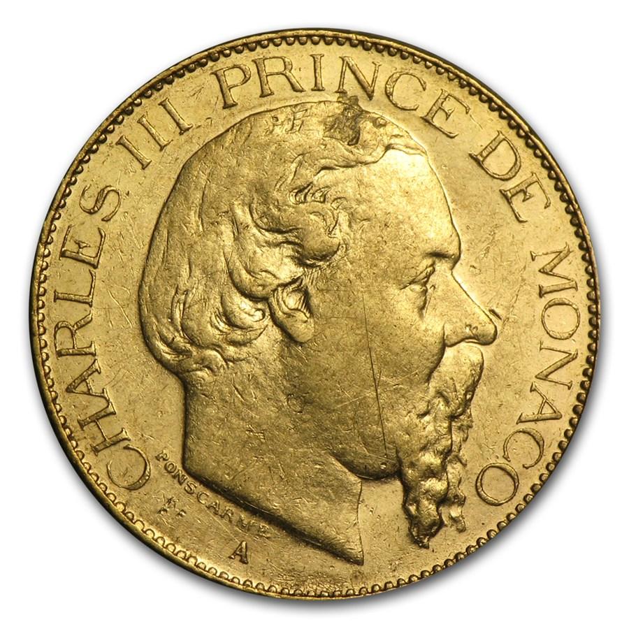 Monaco Gold 20 Francs Charles III Avg Circ 1878-1879