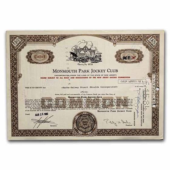 Monmouth Park Jockey Club Stock Certificate (Brown)