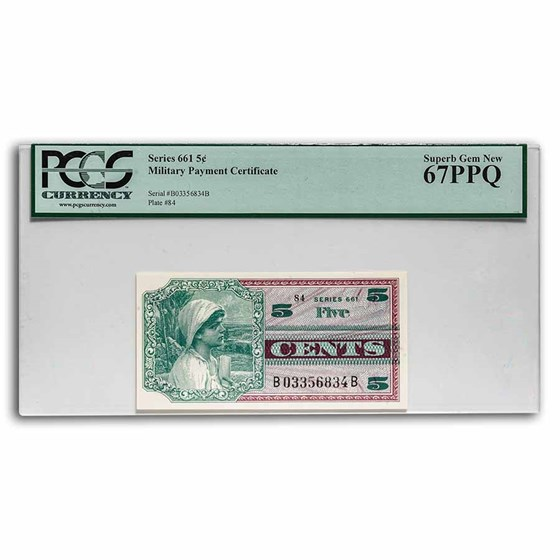 MPC Series 661 5 Cents Superb Gem New CU-67 PPQ PCGS