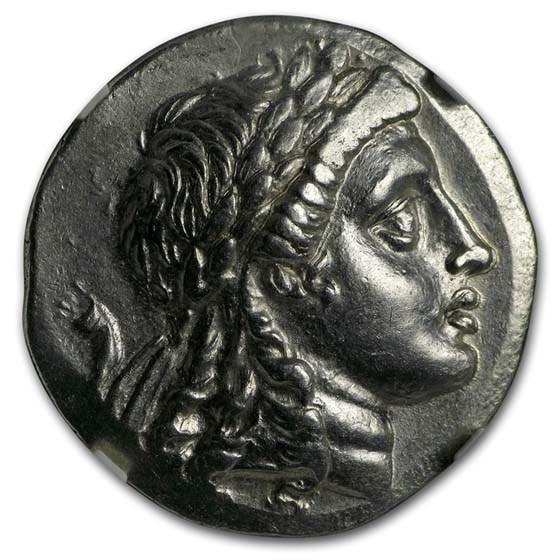 Myrina Aeolis Silver Tetradrachm/Apollo (2nd cent. BC) Ch AU NGC