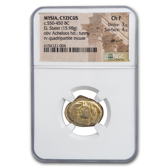 Mysia Cyzicus EL Stater (550-450 BC) Ch Fine NGC (die-shift)