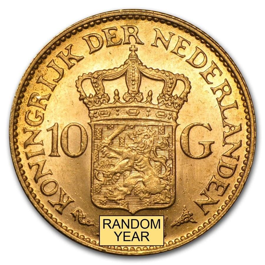 Netherlands Gold 10 Guilders Average Circ (Random)