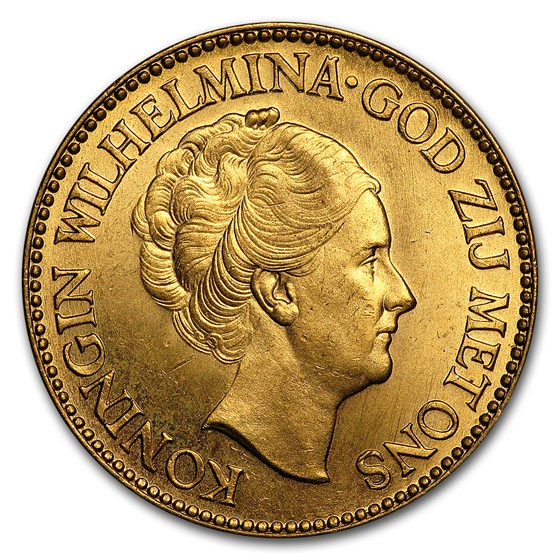 Netherlands Gold 10 Guilders (Random) AU