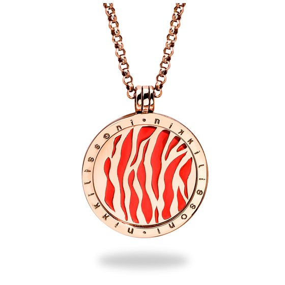 Nikki Lissoni Pink Tiger Rose Gold Plated 33 mm Pendant w/Chain