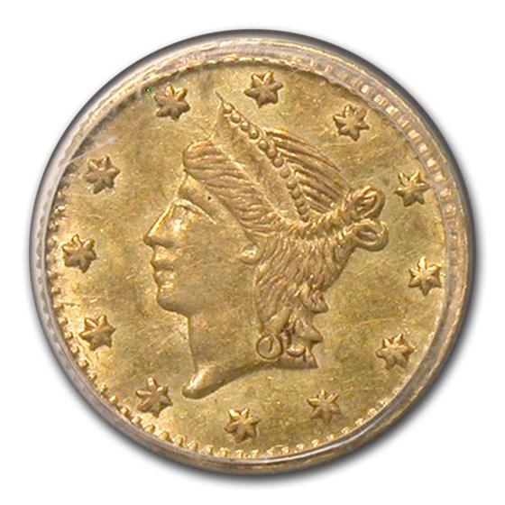 (No Date) Liberty Round 25 Cent Gold MS-62 PCGS (BG-222)