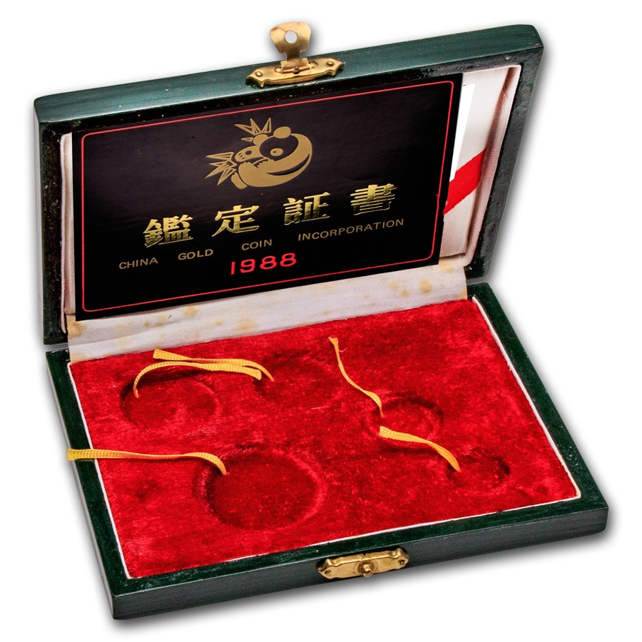 OGP Box & COA - 1988 China 5-Coin Gold Panda Proof Set (Empty)