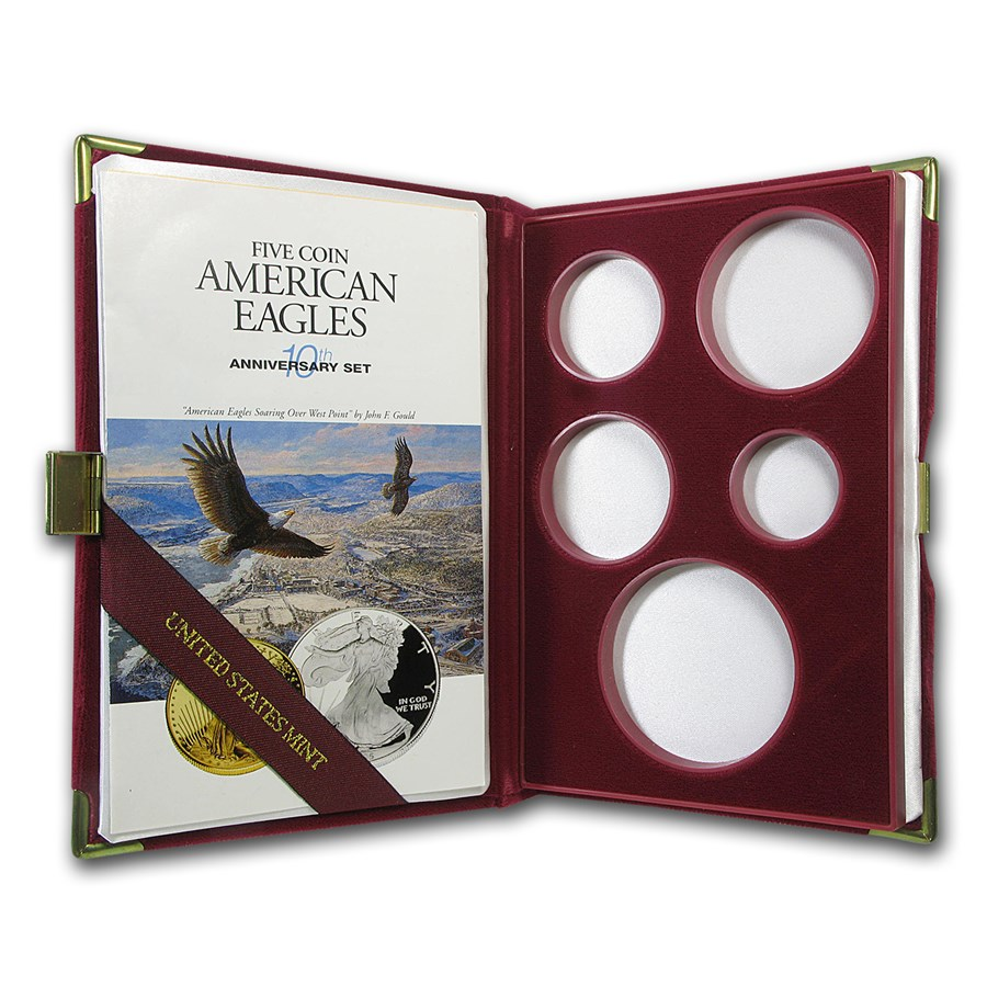 OGP Box & COA - 1996 10th Anniversary 5-Coin Proof Eagle Set