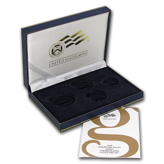 OGP Box & COA - 2008 (W) 4-Coin Burnished Gold American Eagle Set