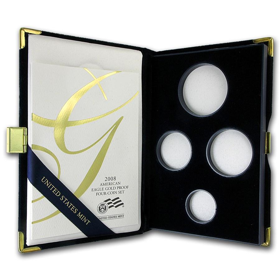 OGP Box & COA - 2008-W 4-Coin Proof Gold Eagle Set