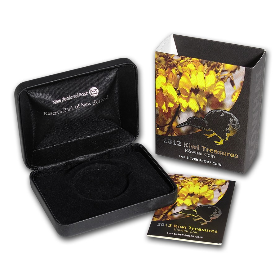 OGP Box & COA - 2012 New Zealand 1 oz Silver $1 Kiwi-Kowhai Proof