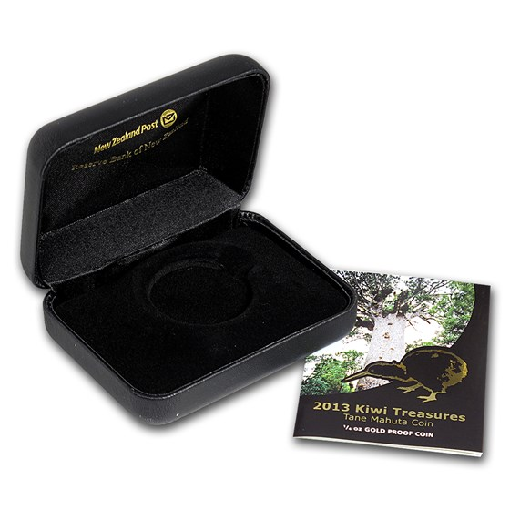 OGP Box & COA - 2013 New Zealand 1/4 oz Gold Treasures Kiwi PF