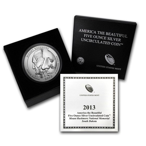 OGP Box & COA - 2013 U.S. Mint 5 oz Silver ATB Coin (Rushmore)