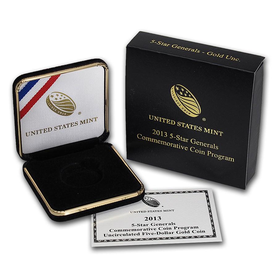OGP Box & COA - 2013 U.S. Mint 5 Star General $5 Gold Unc. Coin