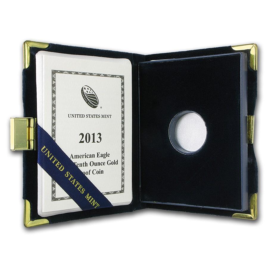 OGP Box & COA - 2013 (W) 1/10 oz PF Gold American Eagle (Empty)