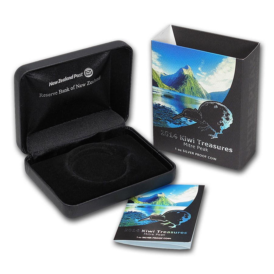 OGP Box & COA - 2014 New Zealand 1 oz Silver Treasures $1 Kiwi PF
