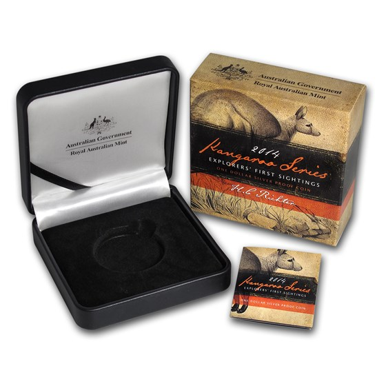 OGP Box & COA - 2014 RAM Silver Proof Kangaroo 1 oz Coin