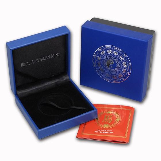 OGP Box & COA - 2014 RAM Silver Proof-like Horse 1 oz Coin