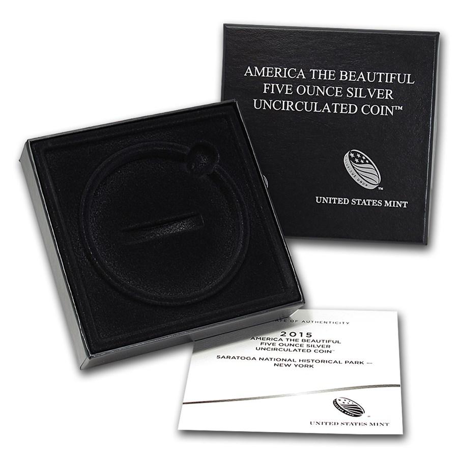 OGP Box & COA - 2015 U.S. Mint 5 oz Silver ATB Coin (Saratoga)