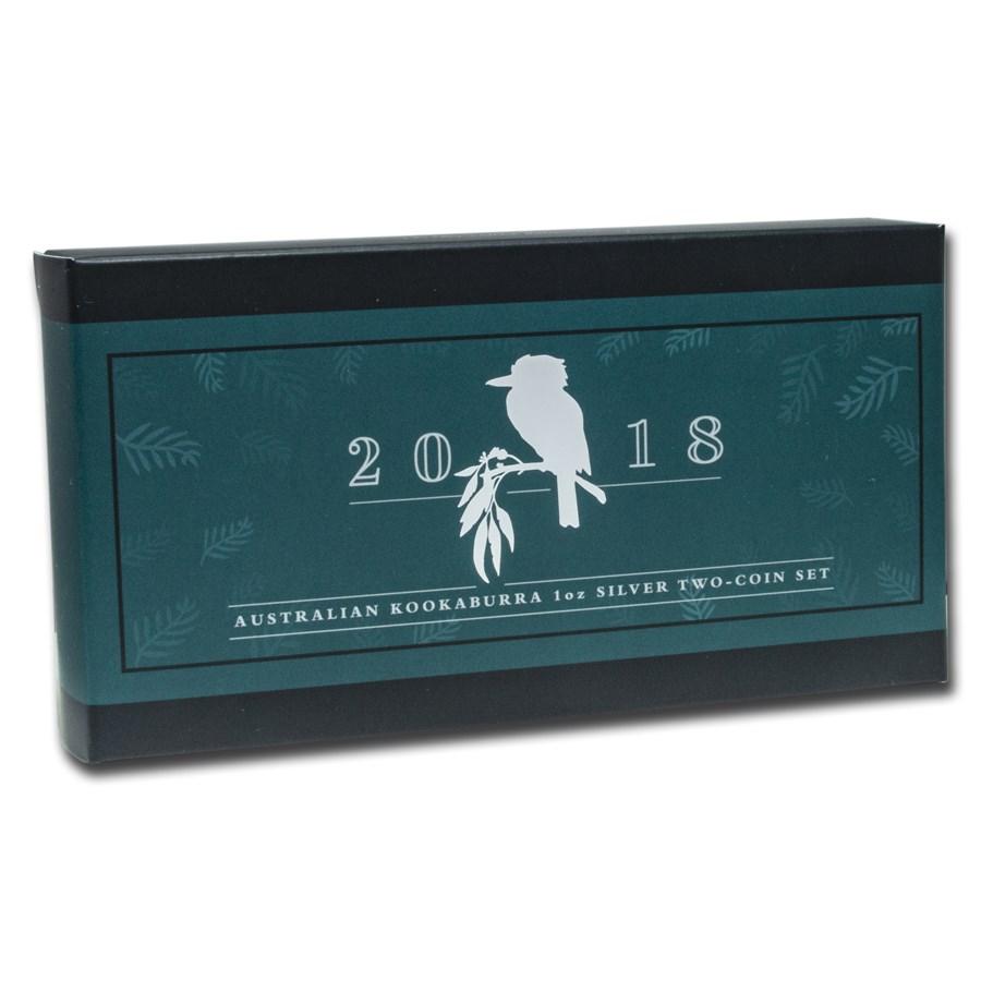 OGP Box & COA - 2018 Perth 2-Coin Silver Kookaburra Proof/BU Set