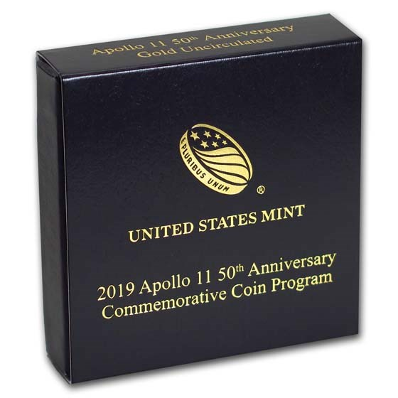 OGP Box & COA - 2019 Apollo 11 50th Anniversary $5 Gold BU